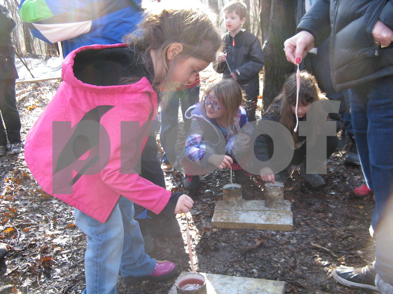 Althea Parker of Genoa celebrates her ninth birthday Saturday by making candles at Winterfest at the Russell Woods Forest Preserve in Genoa.