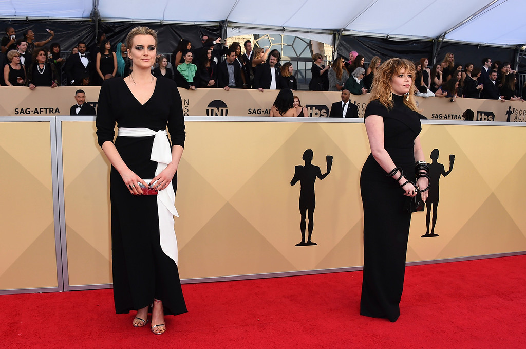 . Taylor Schilling, left and Natasha Lyonne arrive at the 24th annual Screen Actors Guild Awards at the Shrine Auditorium & Expo Hall on Sunday, Jan. 21, 2018, in Los Angeles. (Photo by Jordan Strauss/Invision/AP)