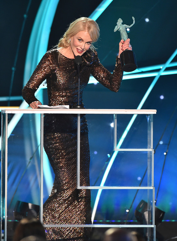 ". Nicole Kidman accepts the award for outstanding performance by a female actor in a television movie or limited series for ""Big Little Lies\"" at the 24th annual Screen Actors Guild Awards at the Shrine Auditorium & Expo Hall on Sunday, Jan. 21, 2018, in Los Angeles. (Photo by Vince Bucci/Invision/AP)"