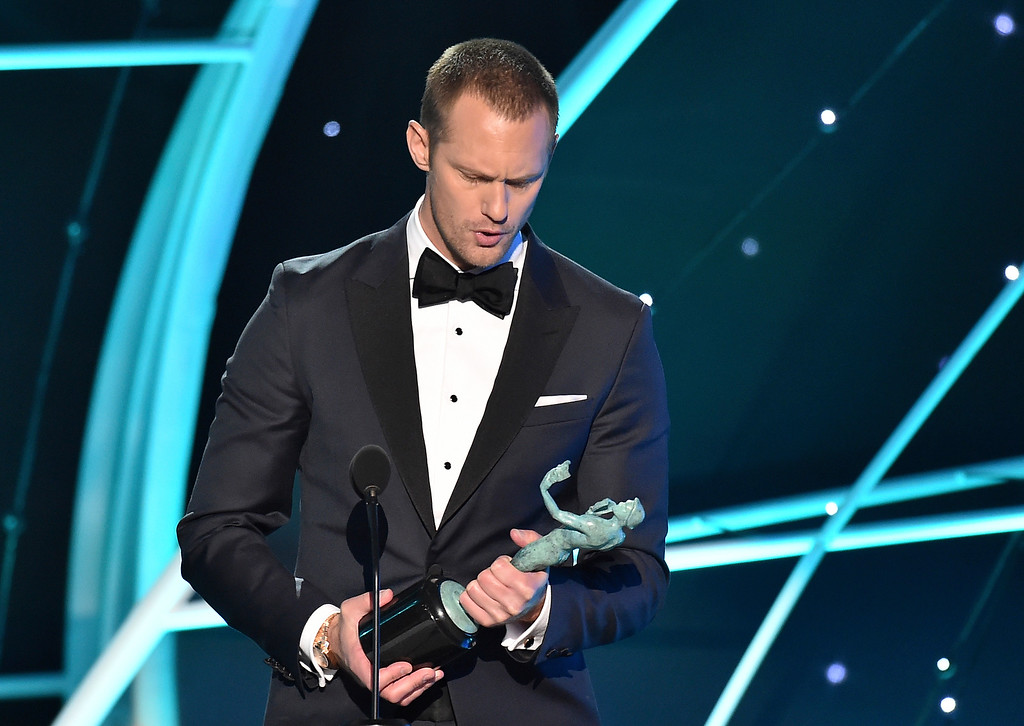 ". Alexander Skarsgard accepts the award for outstanding performance by a male actor in a television movie or limited series for ""Big Little Lies\"" at the 24th annual Screen Actors Guild Awards at the Shrine Auditorium & Expo Hall on Sunday, Jan. 21, 2018, in Los Angeles. (Photo by Vince Bucci/Invision/AP)"