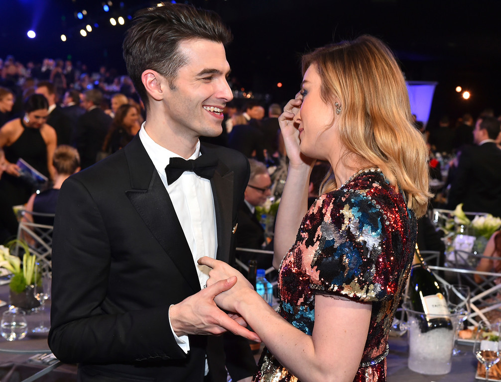 . Alex Greenwald, left, and Brie Larson attend the 24th annual Screen Actors Guild Awards at the Shrine Auditorium & Expo Hall on Sunday, Jan. 21, 2018, in Los Angeles. (Photo by Vince Bucci/Invision/AP)