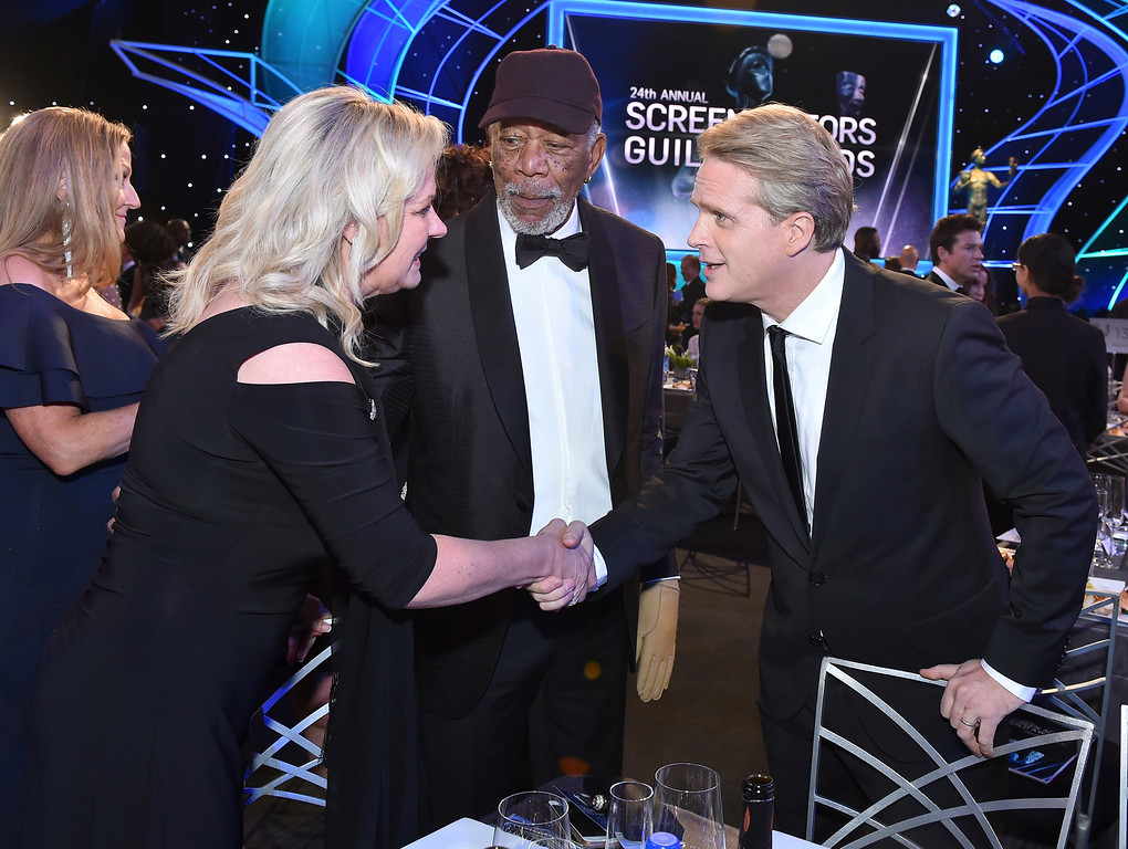 . Linda Keena, and from left, Morgan Freeman, and Cary Elwes attend the 24th annual Screen Actors Guild Awards at the Shrine Auditorium & Expo Hall on Sunday, Jan. 21, 2018, in Los Angeles. (Photo by Vince Bucci/Invision/AP)