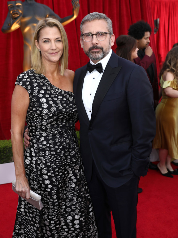 . Steve Carell, right, and Nancy Carell arrive at the 24th annual Screen Actors Guild Awards at the Shrine Auditorium & Expo Hall on Sunday, Jan. 21, 2018, in Los Angeles. (Photo by Matt Sayles/Invision/AP)
