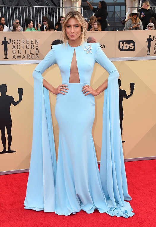 . Renee Bargh arrives at the 24th annual Screen Actors Guild Awards at the Shrine Auditorium & Expo Hall on Sunday, Jan. 21, 2018, in Los Angeles. (Photo by Jordan Strauss/Invision/AP)