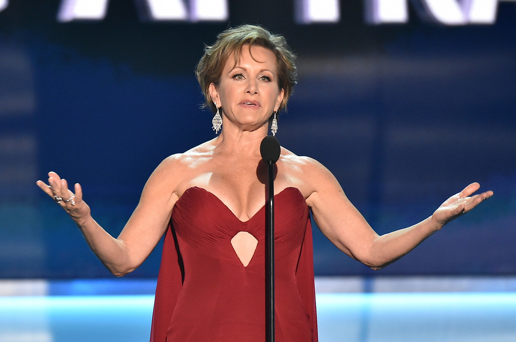 . SAG-AFTRA President Gabrielle Carteris speaks at the 24th annual Screen Actors Guild Awards at the Shrine Auditorium & Expo Hall on Sunday, Jan. 21, 2018, in Los Angeles. (Photo by Vince Bucci/Invision/AP)