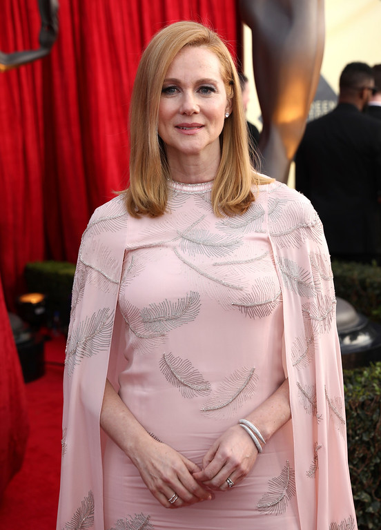 . Laura Linney arrives at the 24th annual Screen Actors Guild Awards at the Shrine Auditorium & Expo Hall on Sunday, Jan. 21, 2018, in Los Angeles. (Photo by Matt Sayles/Invision/AP)