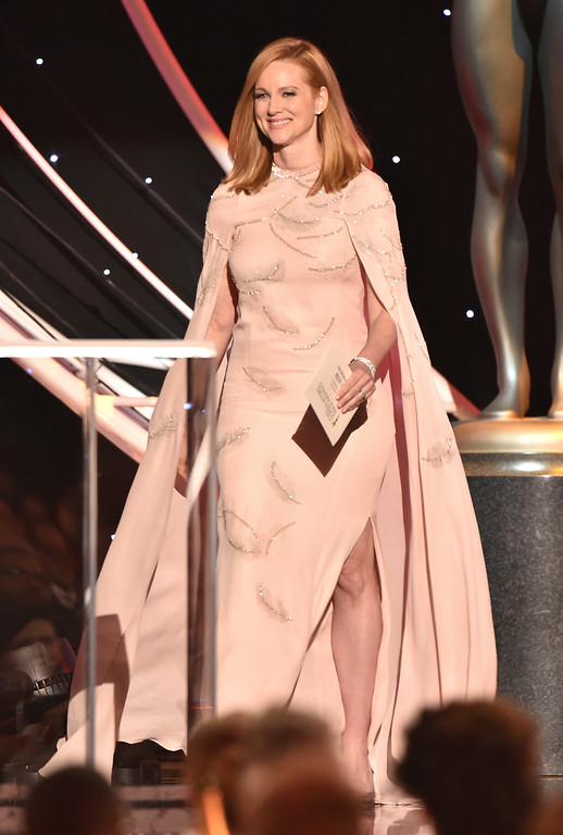 . Laura Linney presents the award for outstanding performance by a male actor in a supporting role at the 24th annual Screen Actors Guild Awards at the Shrine Auditorium & Expo Hall on Sunday, Jan. 21, 2018, in Los Angeles. (Photo by Vince Bucci/Invision/AP)