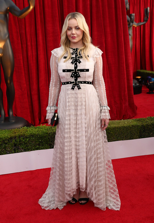 . Abbie Cornish arrives at the 24th annual Screen Actors Guild Awards at the Shrine Auditorium & Expo Hall on Sunday, Jan. 21, 2018, in Los Angeles. (Photo by Matt Sayles/Invision/AP)