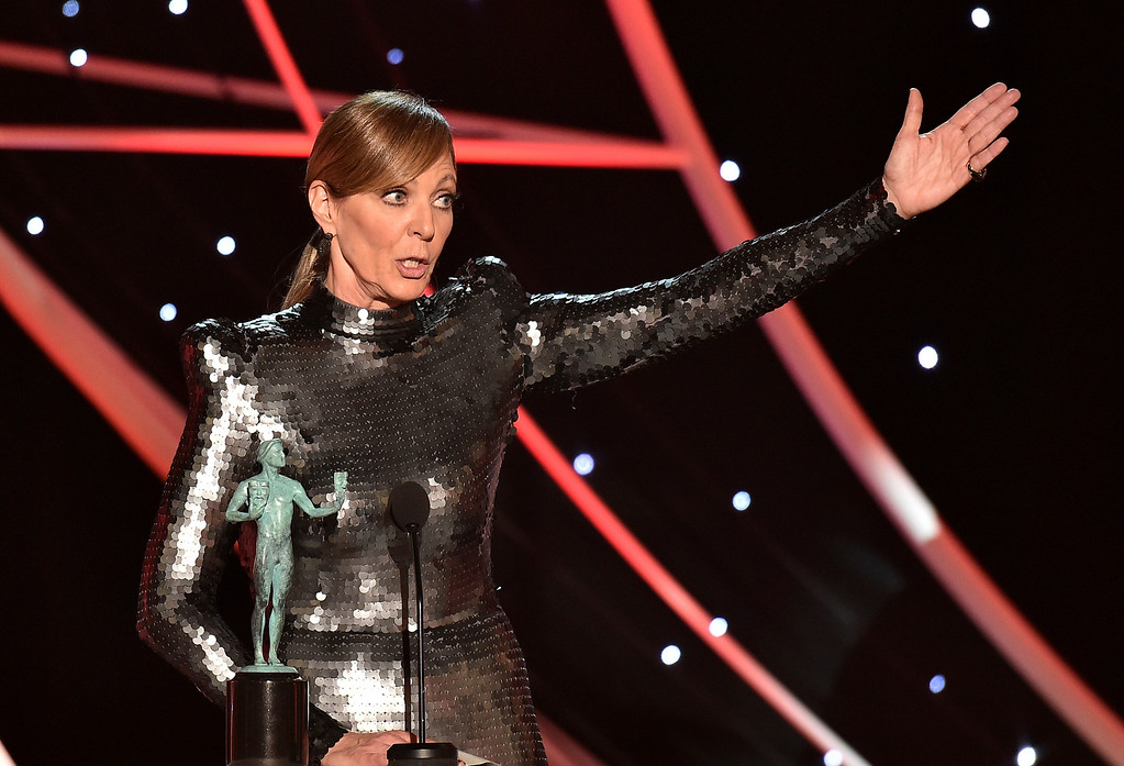 ". Allison Janney accepts the award for outstanding performance by a female actor in a supporting role for ""I, Tonya\"" at the 24th annual Screen Actors Guild Awards at the Shrine Auditorium & Expo Hall on Sunday, Jan. 21, 2018, in Los Angeles. (Photo by Vince Bucci/Invision/AP)"