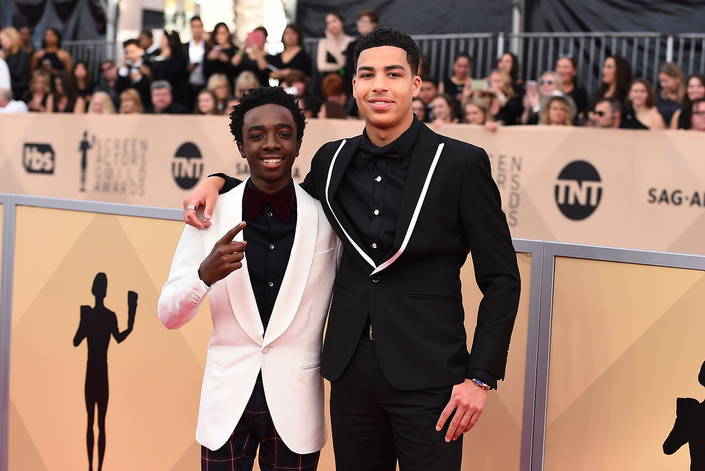 . Caleb McLaughlin, left and Marcus Scribner arrive at the 24th annual Screen Actors Guild Awards at the Shrine Auditorium & Expo Hall on Sunday, Jan. 21, 2018, in Los Angeles. (Photo by Jordan Strauss/Invision/AP)