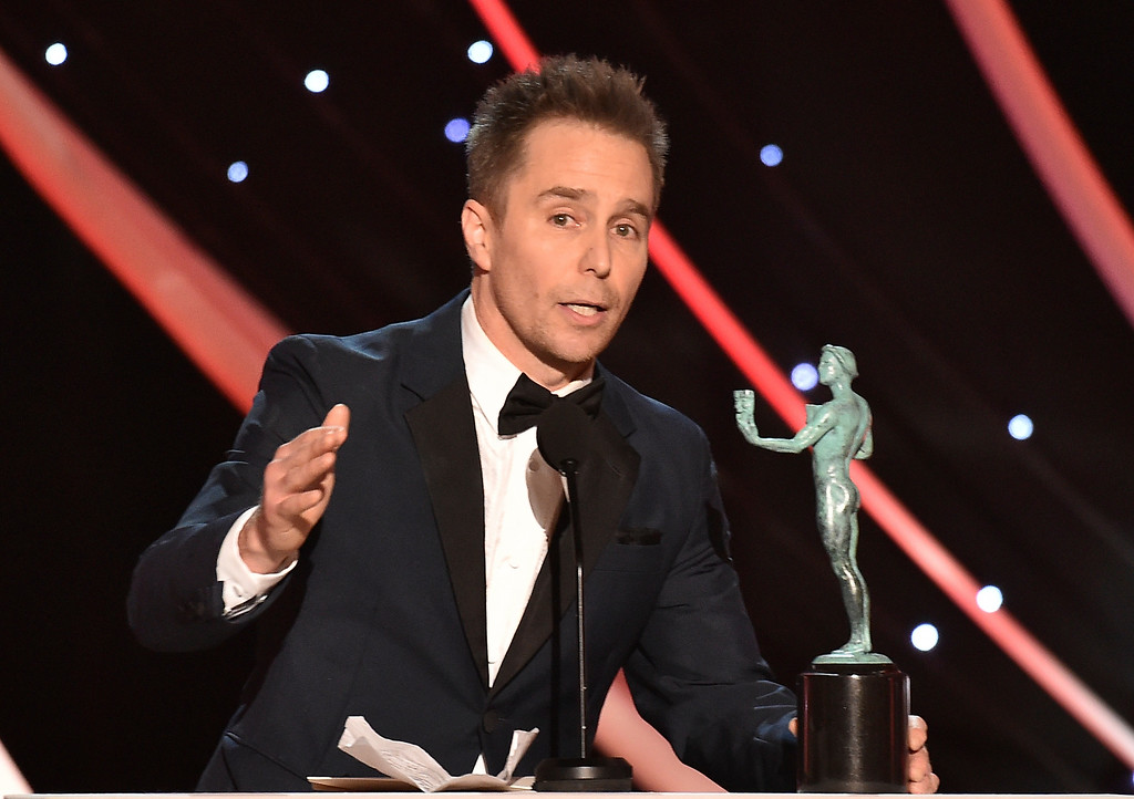 ". Sam Rockwell accepts the award for outstanding performance by a male actor in a supporting role for ""Three Billboards Outside Ebbing, Missouri\"" at the 24th annual Screen Actors Guild Awards at the Shrine Auditorium & Expo Hall on Sunday, Jan. 21, 2018, in Los Angeles. (Photo by Vince Bucci/Invision/AP)"