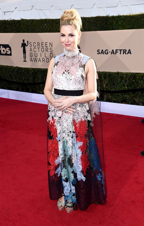 . Cara Buono arrives at the 24th annual Screen Actors Guild Awards at the Shrine Auditorium & Expo Hall on Sunday, Jan. 21, 2018, in Los Angeles. (Photo by Richard Shotwell/Invision/AP)