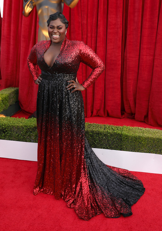 . Danielle Brooks arrives at the 24th annual Screen Actors Guild Awards at the Shrine Auditorium & Expo Hall on Sunday, Jan. 21, 2018, in Los Angeles. (Photo by Matt Sayles/Invision/AP)
