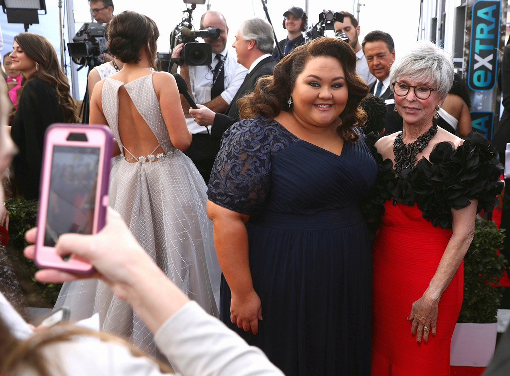. Jolene Purdy, left, and Rita Moreno pose for a cell phone photo as they arrives at the 24th annual Screen Actors Guild Awards at the Shrine Auditorium & Expo Hall on Sunday, Jan. 21, 2018, in Los Angeles. (Photo by Matt Sayles/Invision/AP)