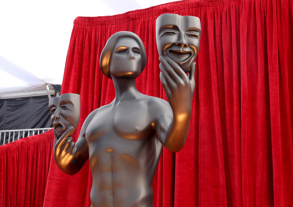 . SAG statues appear on the red carpet at the 24th annual Screen Actors Guild Awards at the Shrine Auditorium & Expo Hall on Sunday, Jan. 21, 2018, in Los Angeles. (Photo by Matt Sayles/Invision/AP)