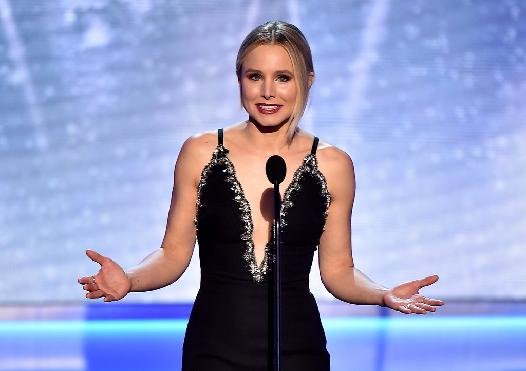 . Host Kristen Bell speaks on stage at the 24th annual Screen Actors Guild Awards at the Shrine Auditorium & Expo Hall on Sunday, Jan. 21, 2018, in Los Angeles. (Photo by Vince Bucci/Invision/AP)