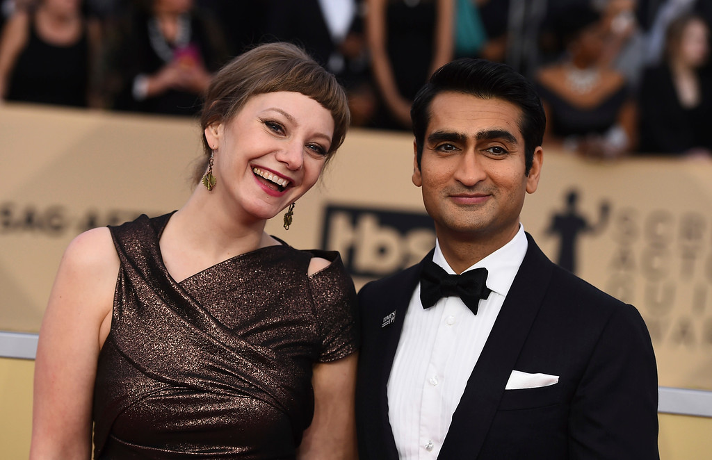 . Kumail Nanjiani, left, and Emily V. Gordon arrive at the 24th annual Screen Actors Guild Awards at the Shrine Auditorium & Expo Hall on Sunday, Jan. 21, 2018, in Los Angeles. (Photo by Jordan Strauss/Invision/AP)
