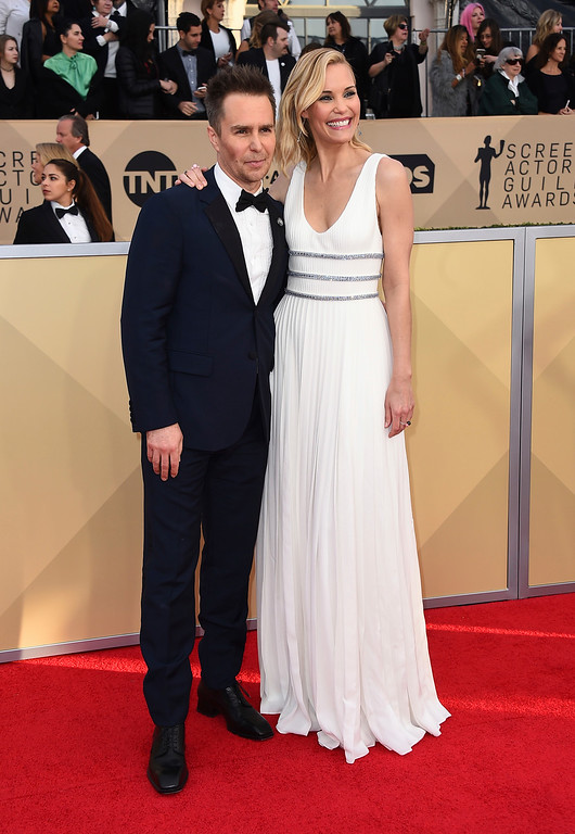 . Sam Rockwell, left, and Leslie Bibb arrive at the 24th annual Screen Actors Guild Awards at the Shrine Auditorium & Expo Hall on Sunday, Jan. 21, 2018, in Los Angeles. (Photo by Jordan Strauss/Invision/AP)