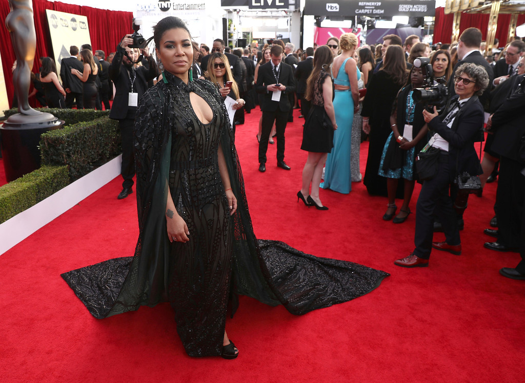 . Jessica Pimentel arrives at the 24th annual Screen Actors Guild Awards at the Shrine Auditorium & Expo Hall on Sunday, Jan. 21, 2018, in Los Angeles. (Photo by Matt Sayles/Invision/AP)