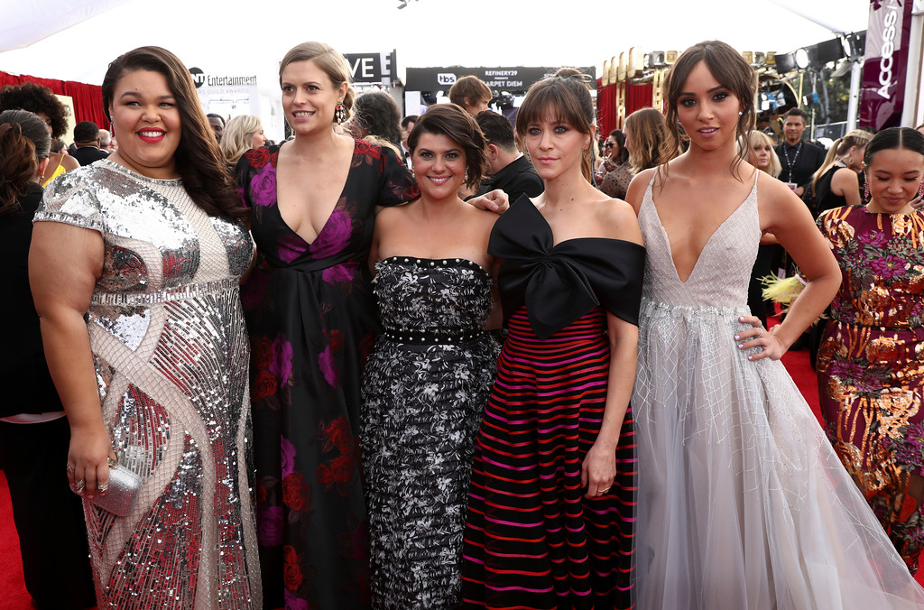 . Britney Young, from left, Marianna Palka, Rebekka Johnson, Jackie Tohn, and Brittany Uomoleale arrive at the 24th annual Screen Actors Guild Awards at the Shrine Auditorium & Expo Hall on Sunday, Jan. 21, 2018, in Los Angeles. (Photo by Matt Sayles/Invision/AP)
