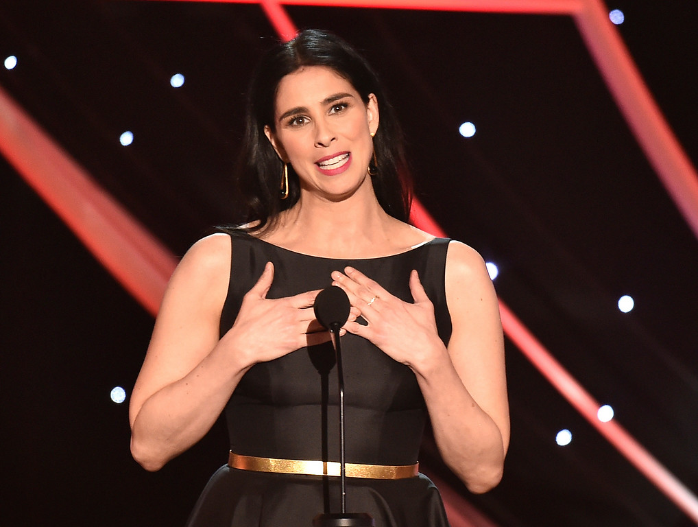 . Sarah Silverman presents the award for outstanding performance by a female actor in a supporting role at the 24th annual Screen Actors Guild Awards at the Shrine Auditorium & Expo Hall on Sunday, Jan. 21, 2018, in Los Angeles. (Photo by Vince Bucci/Invision/AP)