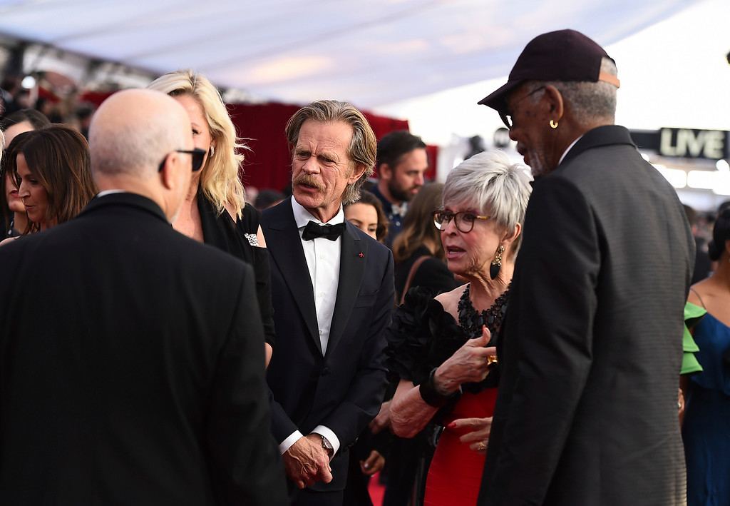 . William H. Macy, from left, Rita Moreno, and Morgan Freeman arrive at the 24th annual Screen Actors Guild Awards at the Shrine Auditorium & Expo Hall on Sunday, Jan. 21, 2018, in Los Angeles. (Photo by Jordan Strauss/Invision/AP)