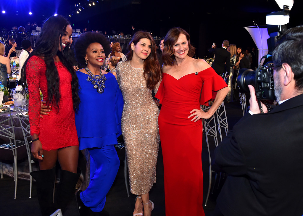 . Charmaine Lewis, from left, Jenifer Lewis, Marisa Tomei, and Molly Shannon attend the 24th annual Screen Actors Guild Awards at the Shrine Auditorium & Expo Hall on Sunday, Jan. 21, 2018, in Los Angeles. (Photo by Vince Bucci/Invision/AP)