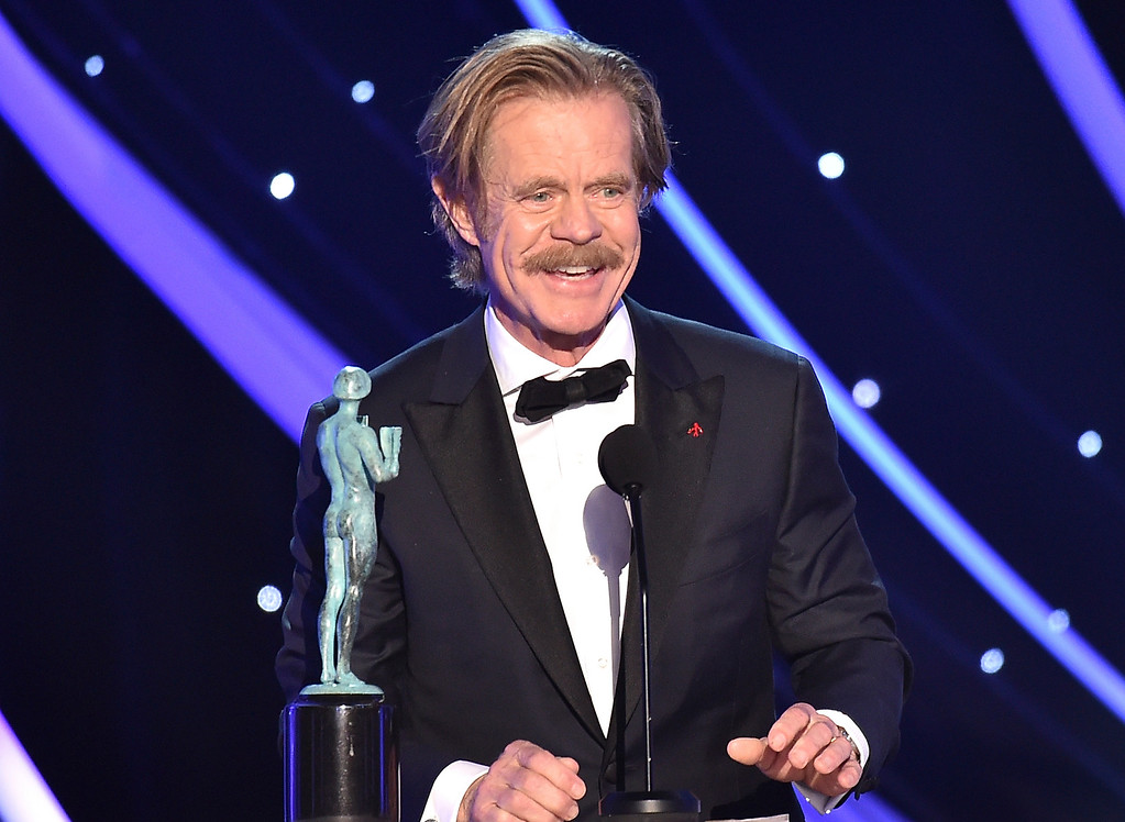 ". William H. Macy accepts the award for outstanding performance by a male actor in a comedy series for ""Shameless\"" at the 24th annual Screen Actors Guild Awards at the Shrine Auditorium & Expo Hall on Sunday, Jan. 21, 2018, in Los Angeles. (Photo by Vince Bucci/Invision/AP)"