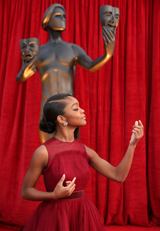 . Marsai Martin arrives at the 24th annual Screen Actors Guild Awards at the Shrine Auditorium & Expo Hall on Sunday, Jan. 21, 2018, in Los Angeles. (Photo by Matt Sayles/Invision/AP)