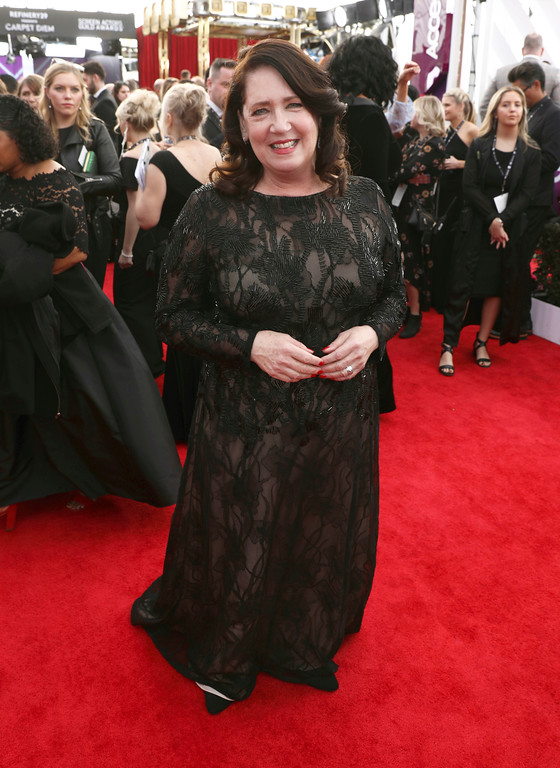 . Ann Dowd arrives at the 24th annual Screen Actors Guild Awards at the Shrine Auditorium & Expo Hall on Sunday, Jan. 21, 2018, in Los Angeles. (Photo by Matt Sayles/Invision/AP)
