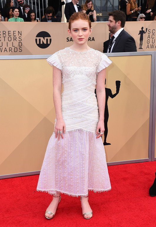 . Sadie Sink arrives at the 24th annual Screen Actors Guild Awards at the Shrine Auditorium & Expo Hall on Sunday, Jan. 21, 2018, in Los Angeles. (Photo by Jordan Strauss/Invision/AP)
