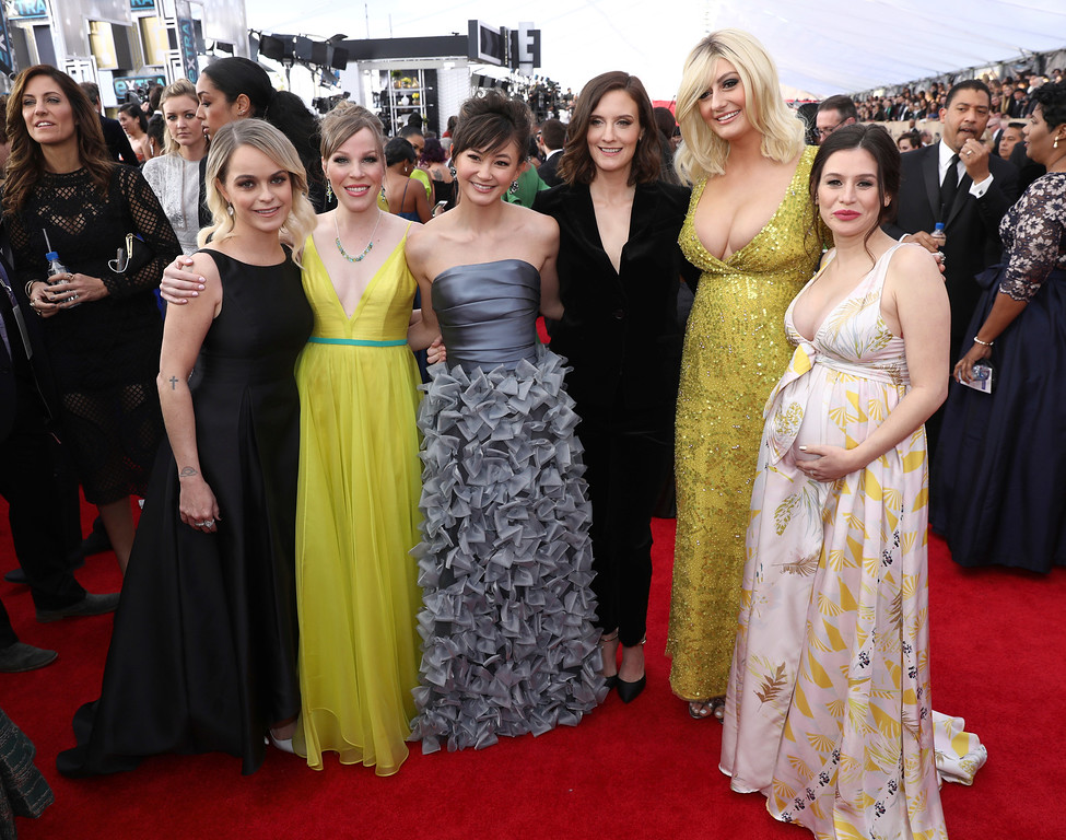 . Taryn Manning, from left, Emma Myles, Kimiko Glenn, Julie Lake, Francesca Curran, and Yael Stone arrive at the 24th annual Screen Actors Guild Awards at the Shrine Auditorium & Expo Hall on Sunday, Jan. 21, 2018, in Los Angeles. (Photo by Matt Sayles/Invision/AP)
