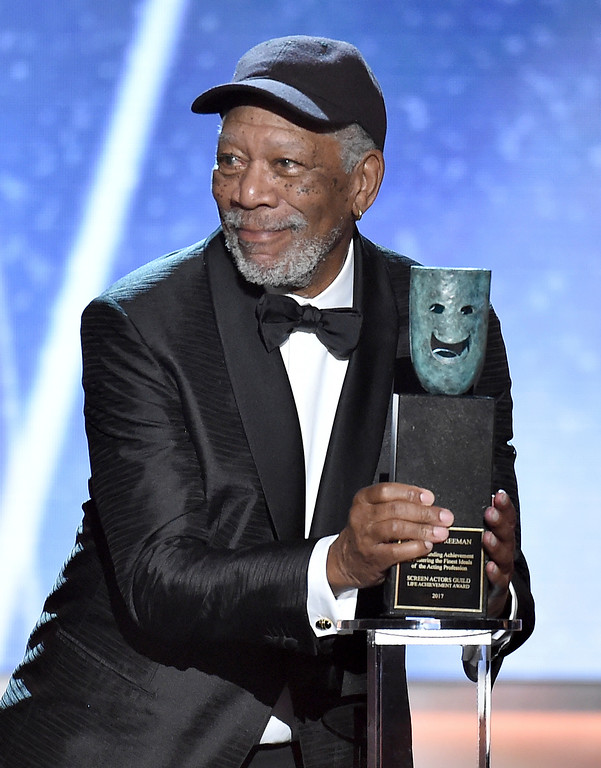 . Morgan Freeman accepts the Life Achievement Award at the 24th annual Screen Actors Guild Awards at the Shrine Auditorium & Expo Hall on Sunday, Jan. 21, 2018, in Los Angeles. (Photo by Vince Bucci/Invision/AP)