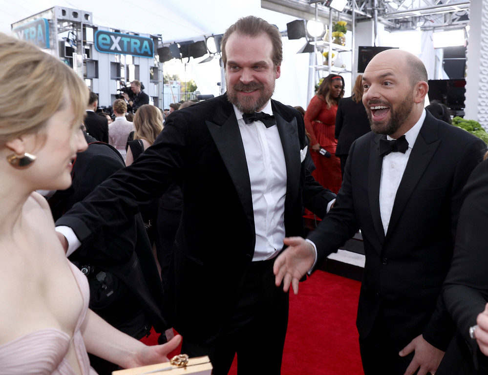 . David Harbour, left, and Paul Scheer arrive at the 24th annual Screen Actors Guild Awards at the Shrine Auditorium & Expo Hall on Sunday, Jan. 21, 2018, in Los Angeles. (Photo by Matt Sayles/Invision/AP)