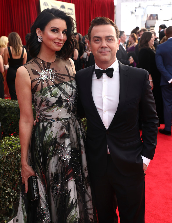 . Beth Dover, left, and Joe Lo Truglio arrive at the 24th annual Screen Actors Guild Awards at the Shrine Auditorium & Expo Hall on Sunday, Jan. 21, 2018, in Los Angeles. (Photo by Matt Sayles/Invision/AP)