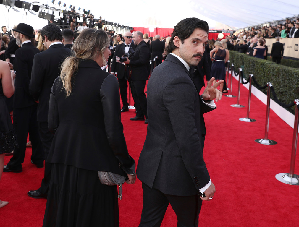 . Milo Ventimiglia arrives at the 24th annual Screen Actors Guild Awards at the Shrine Auditorium & Expo Hall on Sunday, Jan. 21, 2018, in Los Angeles. (Photo by Matt Sayles/Invision/AP)