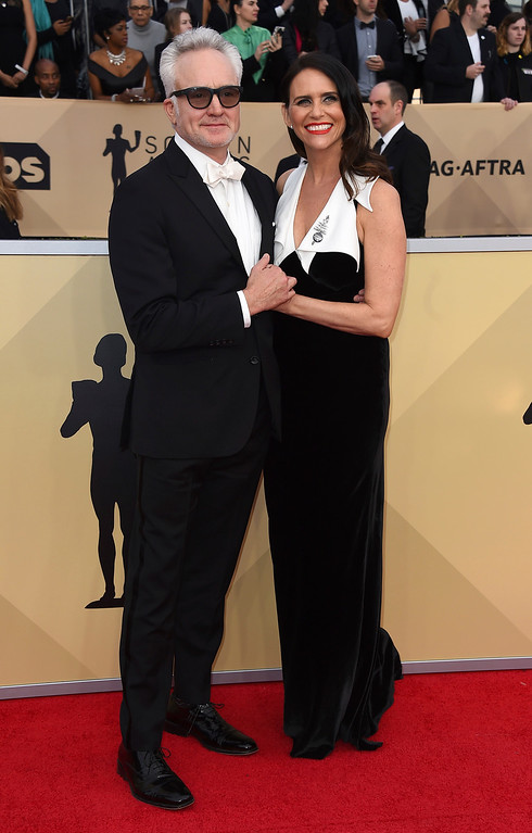 . Bradley Whitford, left, and Amy Landecker arrive at the 24th annual Screen Actors Guild Awards at the Shrine Auditorium & Expo Hall on Sunday, Jan. 21, 2018, in Los Angeles. (Photo by Jordan Strauss/Invision/AP)