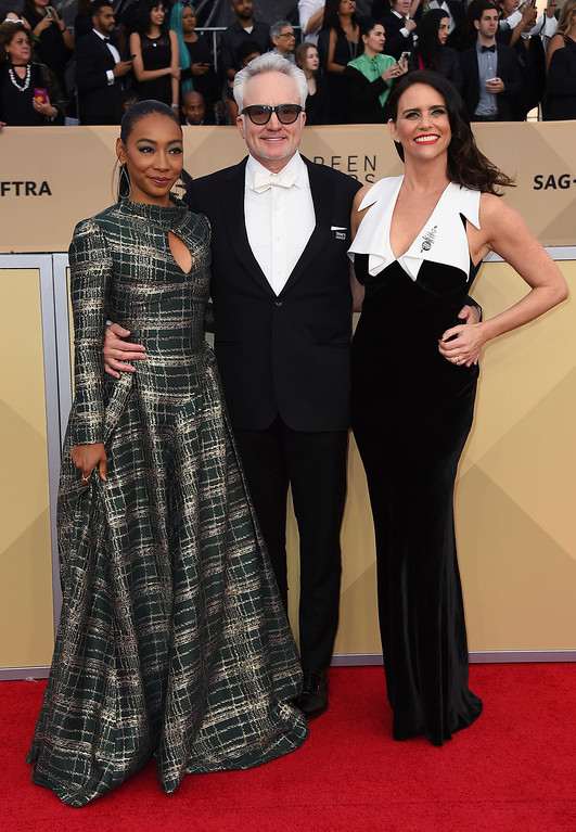 . Betty Gabriel, from left, Bradley Whitford and Amy Landecker arrive at the 24th annual Screen Actors Guild Awards at the Shrine Auditorium & Expo Hall on Sunday, Jan. 21, 2018, in Los Angeles. (Photo by Jordan Strauss/Invision/AP)