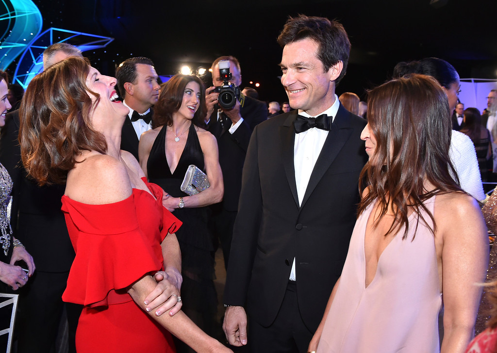 . Molly Shannon, from left, Jason Bateman and Amanda Anka attend the 24th annual Screen Actors Guild Awards at the Shrine Auditorium & Expo Hall on Sunday, Jan. 21, 2018, in Los Angeles. (Photo by Vince Bucci/Invision/AP)