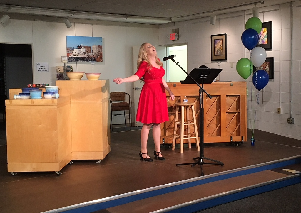 . Richard Payerchin - The Morning Journal <br> Singer Leslie Andrews of North Ridgeville performs during the grand opening of TrueNorth Cultural Arts\' new artistic center at 739-1 Moore Road, Avon Lake. Arts enthusiasts packed the open house on Jan. 20, 2018, to celebrate the opening and tour the new center. Andrews will be a voice teacher at the center and her husband, Chris, will be a percussion teacher there.
