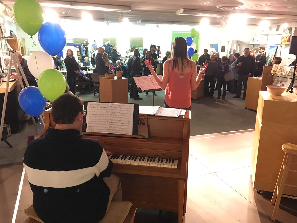 . Richard Payerchin - The Morning Journal <br> Anthony Trifiletti plays piano while Tia Karaplis sings during the grand opening of TrueNorth Cultural Arts\' new artistic center at 739-1 Moore Road, Avon Lake. Arts enthusiasts packed the open house on Jan. 20, 2018, to celebrate the opening and tour the new center.