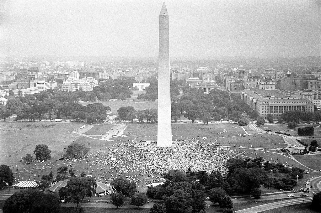 . Solidarity Day demonstrators as they gathered at the Washington Monument in support of the Poor People�s Campaign  June 19, 1968. The White House shows at left of Monument, first white building in background. (AP Photo/Harvey Georges)