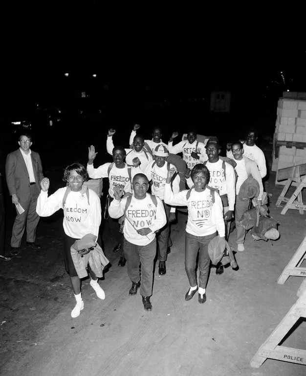 . Members of Congress of Racial Equality (CORE) set out Aug. 15 from New York before dawn to walk 230 miles to Washington, D.C., to participate in the March on Washington for Jobs and Freedom on Aug. 28, 1963.  There are 14 members in the group, which started from the Downstate Medical Center in the borough of Brooklyn.  (AP Photo)