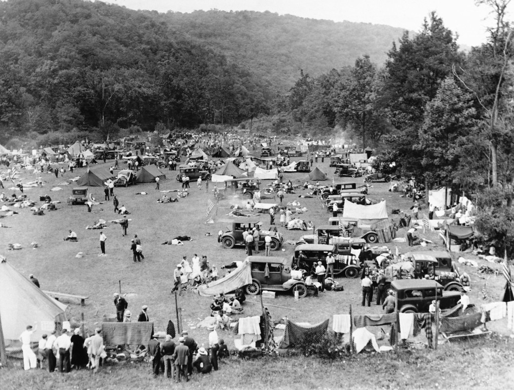 . This is a general view of the new camp of the bonus-seeking veterans\' camp at Johnstown, Pa., July 31, 1932 when more than 3,000 veterans, their wives and children were encamped there. At the same time efforts were being made toward establishing a permanent camp in Maryland by Commander Walter Waters. (AP Photo)