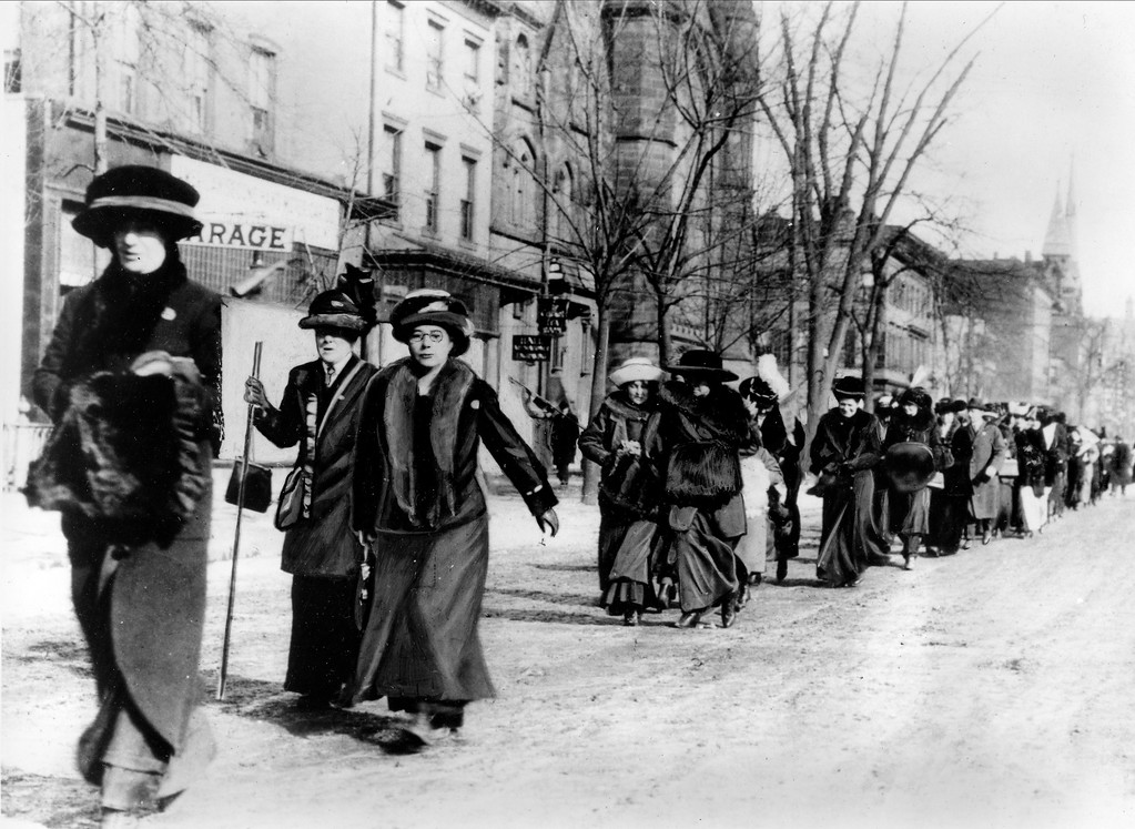 """. Suffragists led by \""""General\"""" Rosalie Jones march from New York on their way to the Woman Suffrage Procession in Washington D.C., on the eve of Woodrow Wilson\'s inaugural in March 1913.  (AP Photo)"""