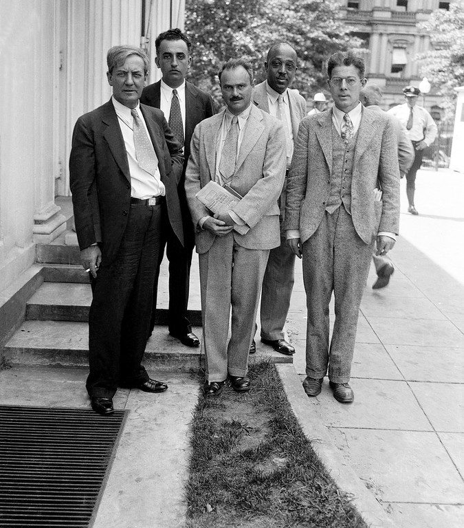 . A committee of writers appears at the White House to protest against the use of U.S. military troops in the eviction of the Bonus Army Marchers from Washington, on August 10, 1932. The men are, from left: novelist Sherwood Anderson, Elliott E. Cohen, from Mobile, Ala., secretary of the National Committee for the Defense of Political Prisoners, Waldo Frank, New York novelist, William Jones, editor of the Baltimore Afro-American, and James Rorty, poet and critic, from Westport, Connecticut.  (AP Photo)