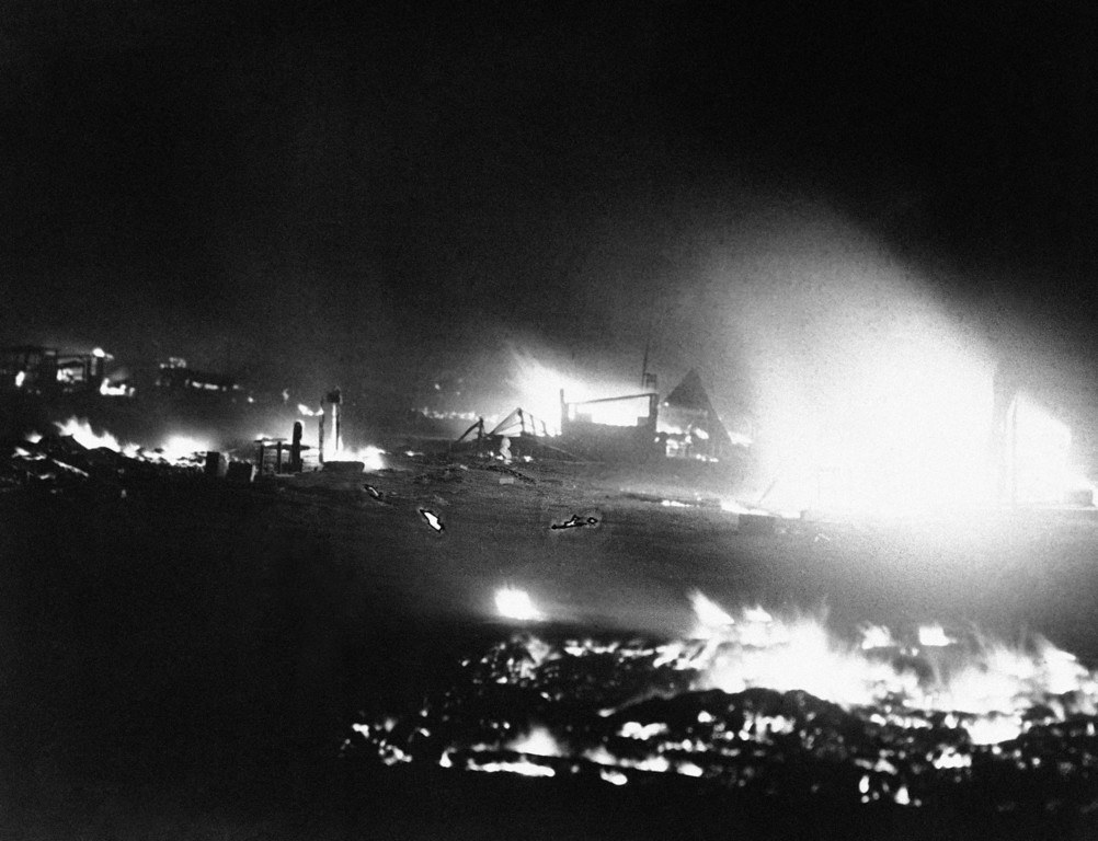 . The veterans camp at the capital city was quickly eaten by the flames after the evacuation of the bonus seekers in Washington, July 28, 1932. Later the scene was one of destruction. (AP Photo)
