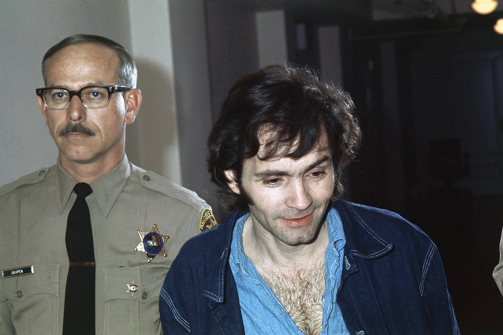 . Charles Manson, accused murderer in the Sharon Tate murder case in Los Angeles, is shown clean-shaven and with a haircut, Nov. 10, 1970. (AP Photo)