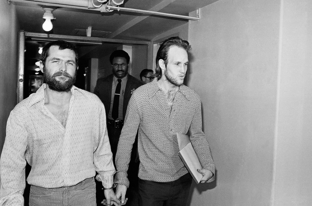 ". FILE - This Dec. 22, 1970 file photo shows Charles Manson followers Bruce Davis, left, and Steve Grogan leaving court after a hearing in Los Angeles. Gov. Jerry Brown has rejected parole for Davis a follower of cult leader Charles Manson 46 years after a series of bloody murders rocked Southern California, Friday, Jan. 22, 2016. Bruce Davis was convicted of the 1969 slayings of musician Gary Hinman and stuntman Donald ""Shorty\"" Shea. He was not involved in the more notorious killings of actress Sharon Tate and six others.(AP Photo/Harold Filan, File)"