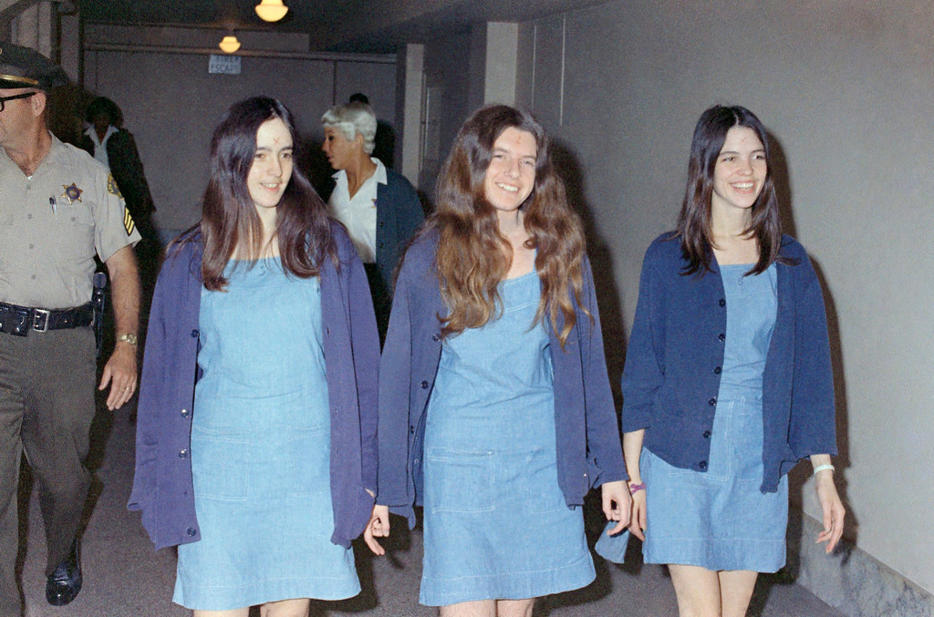 . Charles Manson followers, from left: Susan Atkins, Patricia Krenwinkel and Leslie Van Houten, shown walking to court in Los Angeles, Calif., Aug. 20, 1970., to appear for their roles in the 1969 cult killings of seven people, including pregnant actress Sharon Tate. (AP Photo/George Brich)
